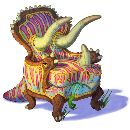Cartoon clip art illustration of a triceratops dinosaur combined with an easy chair or armchair. Also known as a Trichairatops.