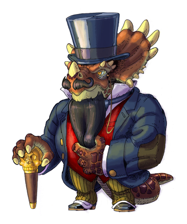 Hand drawn cartoon clip art illustration of an anthropomorphic steampunk Styracosaurus dinosaur wearing Victorian clothes with a beard, top hat, and a cane.