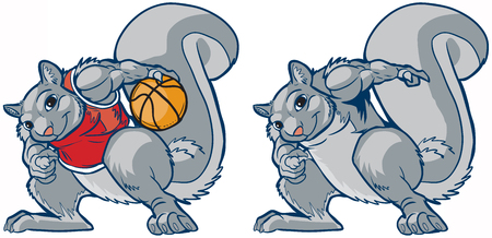 Vector cartoon clip art illustration of a tough but smiling muscular squirrel in a basketball uniform palming a ball. Also contains a version without an outfit for other applications.