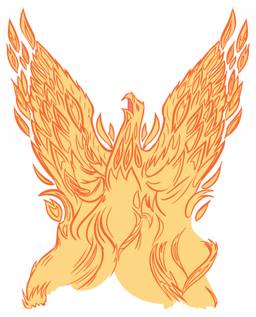 Vector clip art cartoon illustration of a phoenix or firebird made of fire or flames rising into the air with wings spread.