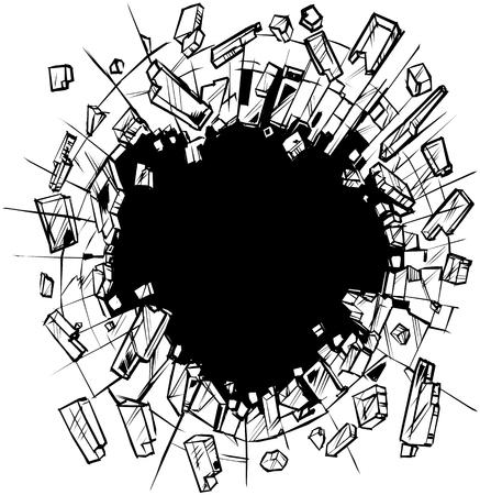 Ilustración de arte de clip de dibujos animados de vector de un agujero en el vidrio que se rompe o se hace añicos en pequeños trozos o fragmentos. Ideal como elemento gráfico de fondo personalizable.