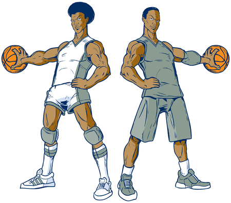 Vector cartoon clip art illustration of a set of two African American basketball players, one modern, one retro from the 70's, palming the ball. Uniform and ball color elements are on separate layers. Illusztráció