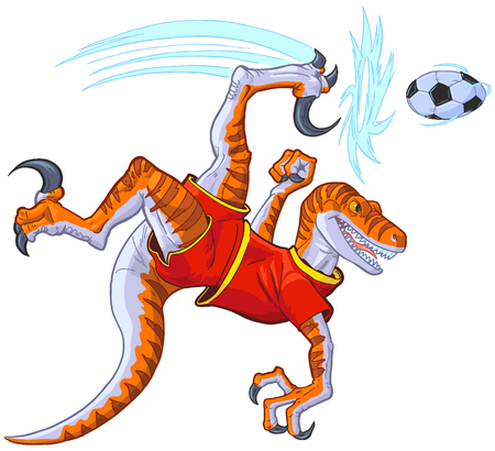 Cartoon clip art illustration of a velociraptor dinosaur in uniform bicycle kicking a soccer ball. uniform color in separate layer.