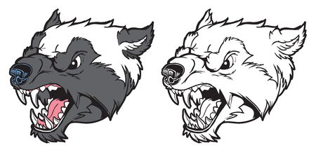 Vector Cartoon Clip Art Illiusration of a growling wolverine mascot head in color and black and white. Ilustracja