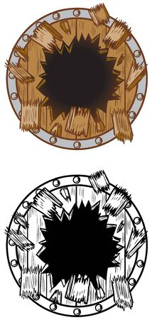 Vector cartoon clip art illustration of a hole in a wood shield breaking or exploding out into pieces and splinters. Ideal as a customizable background graphic element, in color and black and white.