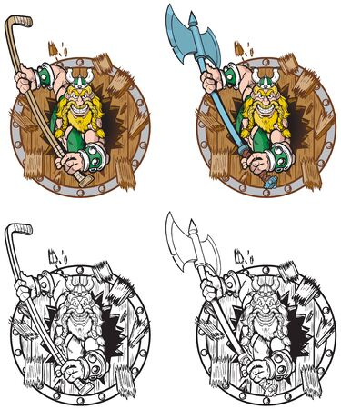 Vector cartoon clip art illustration of a viking mascot breaking or crashing through of a wood shield with two options, a battle ax or hockey stick, in color and black and white.