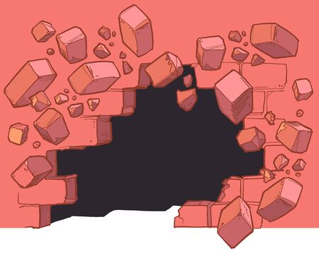 Vector cartoon clip art illustration of a Ground level hole in a red brick wall breaking or exploding out and to the left into rubble or debris. Ideal as a customizable background graphic element. Vector file is layered for easy customization.