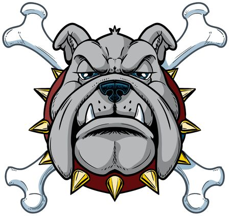 Vector cartoon clip art illustration of a tough mean cartoon bulldog mascot head with crossbones with a spiked collar in separate layers.