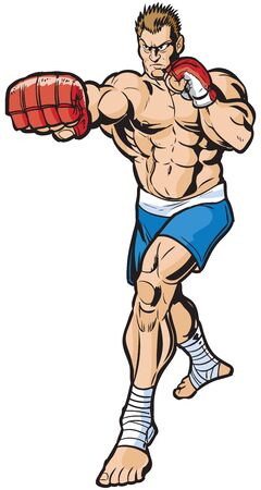 Vector cartoon clip art illustration d'un combattant mma caucasien moyenne dure jetant un coup de poing croisé droit vers le spectateur. Dessiné dans un style bande dessinée.