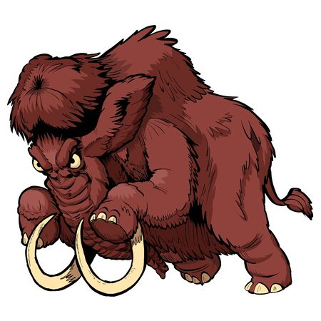 Vector cartoon clip art illustration of a charging angry woolly mammoth mascot in separate layers.