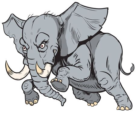Vector cartoon clip art illustration of a charging angry African elephant mascot in separate layers.