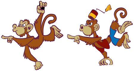 Vector cartoon clip art illustration set of two angry monkey mascots, one wild, one domesticated in costume, one hanging and pointing, one jumping and pointing, in separate layers. Illusztráció