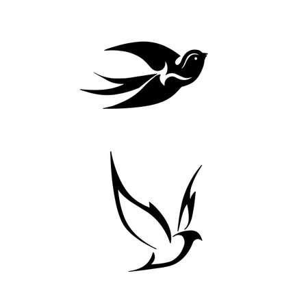 gestileerde zwarte silhouetten vogels op witte achtergrond Stock Illustratie