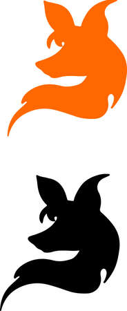 black and red silhouette of a head of fox , fox logo on a white background , a stylized image of a fox Çizim