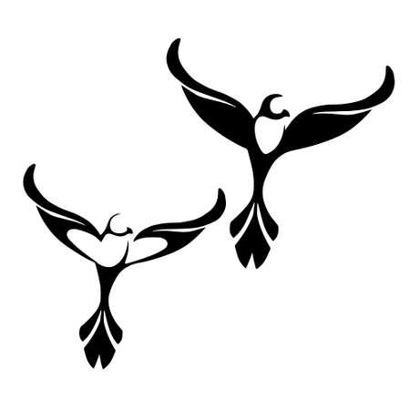 stylized black silhouettes birds on white background