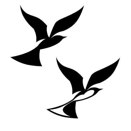 smoothness: stylized black silhouettes birds on white background