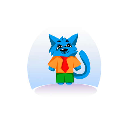 artful: A card with an artful blue cat
