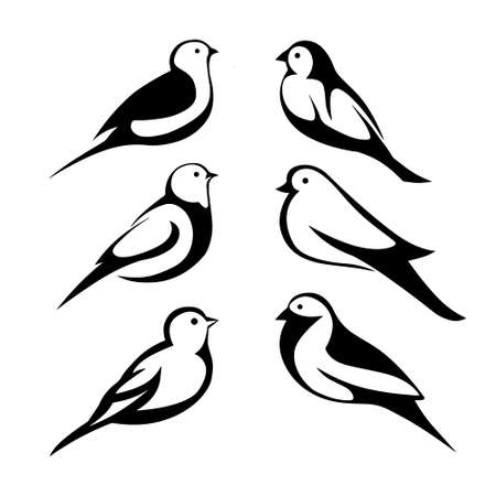 pastiche: stylized black silhouettes birds on white background