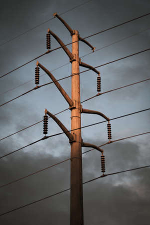 power lines: Dramatic lighting on large power lines