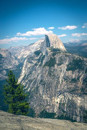 Panoramic view from Glacier Point, Yosemite National Park. National park in the western Sierra Nevada, mountains of Nothern California