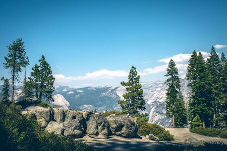 Panoramic view from Glacier Point, Yosemite National Park. National park in the western Sierra Nevada, mountains of Nothern California Stock Photo