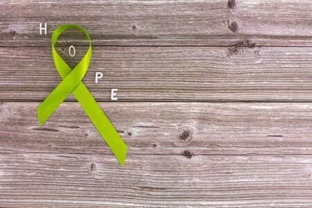 Lime green ribbon. Mental health awareness month concept mental health letters on old aged wooden background with blossom branches May green ribbon month to support mental health awareness