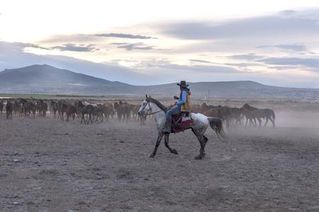Shepherd or cowboy on snowy mountain