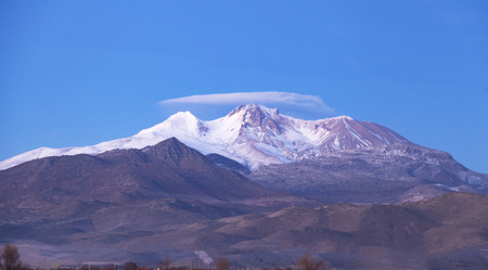 erciyes mountain snowy, cloud on mountain winter