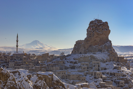stone houses, city under snow
