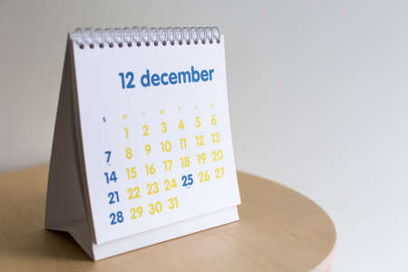 december: Selective focus Desk  december 2015 Calendar Stock Photo