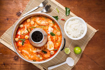 goong: spicy prawn soup or tom yum goong with rice