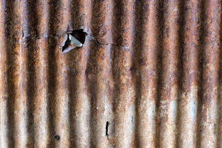 corrugated steel: close up rusty old zinc texture background Stock Photo