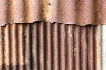 grooved: close up rusty old zinc texture background Stock Photo