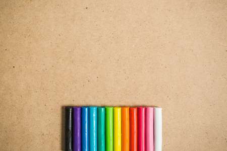 malleable: clay of different colors with  space fot text background Stock Photo