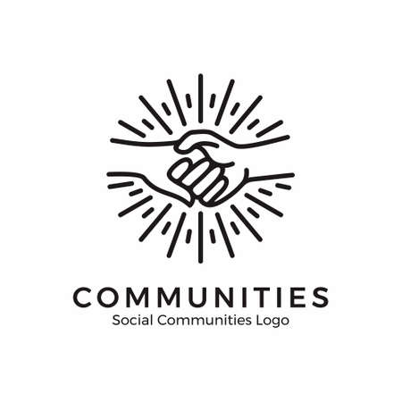 logo holding hands. community logo with monoline style
