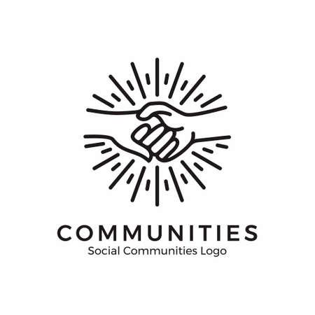 logo tenendosi per mano. logo della comunità con stile monoline Logo