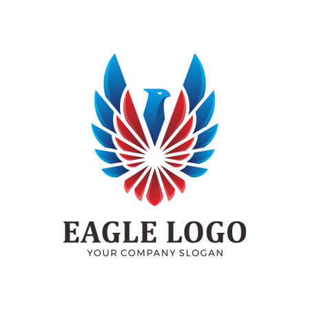 Abstract eagle logo with blue and red color