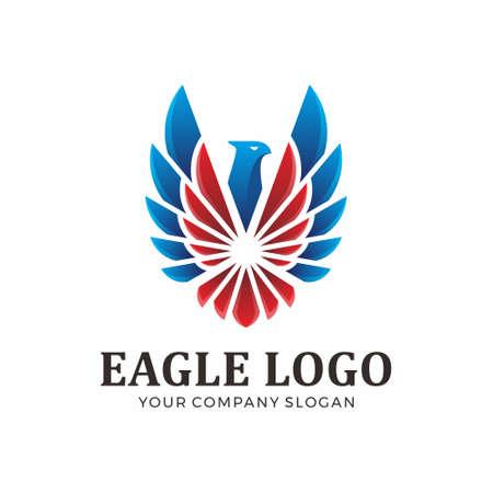 Logo abstrait d'aigle avec la couleur bleue et rouge