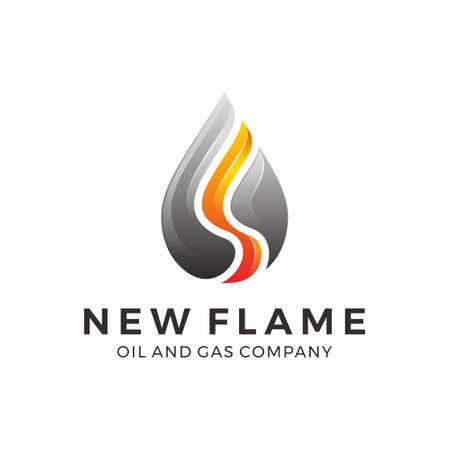 Gas and oil logo design with flame