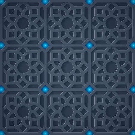 3D islamic ornament. Arabic geometric pattern. Abstract geometric in dark background