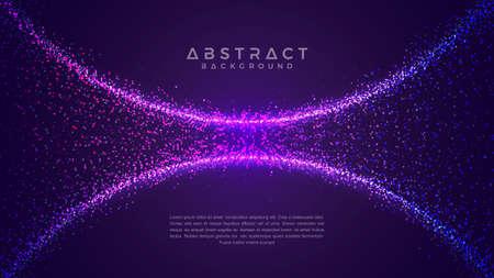 Dynamischer abstrakter flüssiger Flusspartikelhintergrund. Glänzender abstrakter Partikelflusshintergrund. Futuristischer Hintergrund mit Punktkombination. Eps10 Vektorhintergrund.