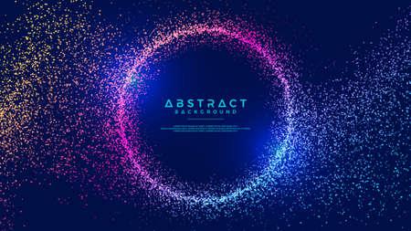 Fondo de partículas de flujo líquido abstracto dinámico. Fondo de flujo de partículas abstracto brillante. Fondo futurista con combinación de puntos. Fondo de vector Eps10.