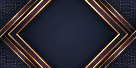Fondo negro de lujo con una combinación dorada brillante con estilo 3D. Fondo texturizado papercut negro abstracto con patrón de semitono dorado brillante.
