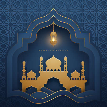 Ramadan kareem background with glowing hanging lantern and mosque. Luxury Greeting card background with 3D paper cut style.