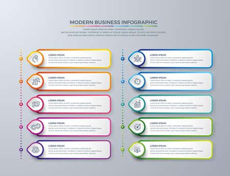 Progettazione infografica con 10 scelte o passaggi di processo. Progetta elementi per la tua attività come report, volantini, brochure, flussi di lavoro e altro ancora. Design infografico con colori moderni e icone semplici.
