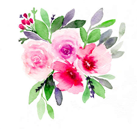 Watercolor illustration of bouquet of varieties of flowers in multi colors. Isolated elements on white background. Easy to be used for any purposes and concepts.
