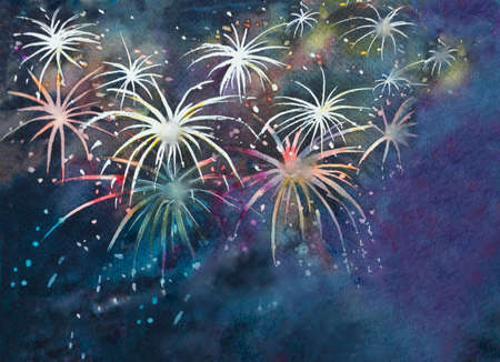 Colorful night sky full of fireworks for festive occasion, New Year, 4th of July, Diwali etc.  Watercolor illustration hand drawn and brush paint on paper.