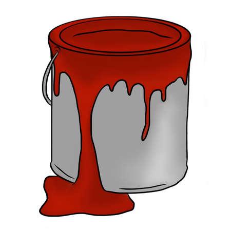 Pot de peinture avec de la peinture rouge