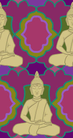 Buddha Colourful Seamless Pattern Ilustrace