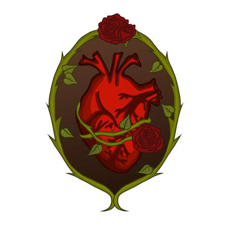 Human Heart and Roses